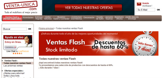 Outlet de muebles online ventas flash en venta unica for Outlet de muebles online
