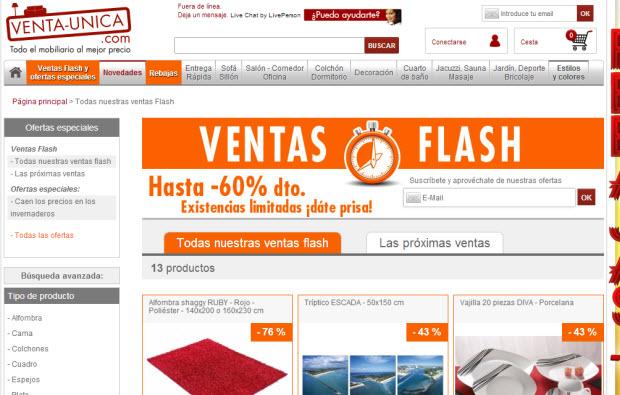 ventas flash en venta unica