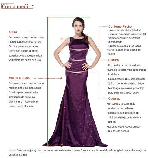 medir tallas en vestidos