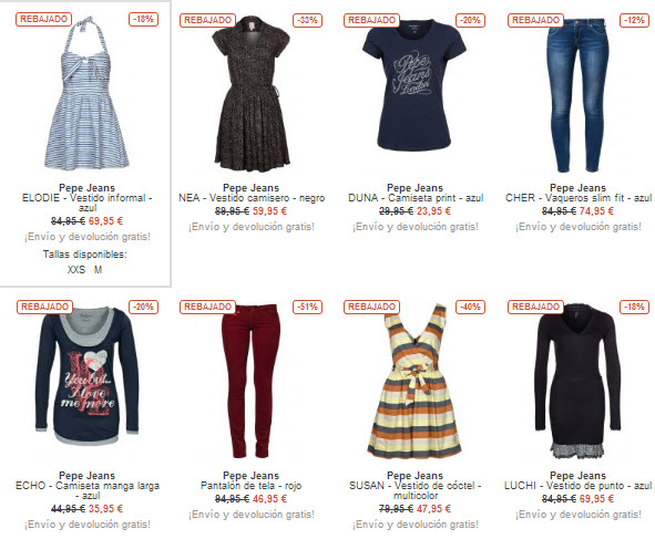 ropa pepe jeans mujer