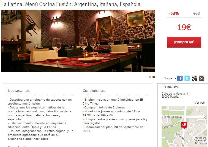 letsbonus madrid restaurante