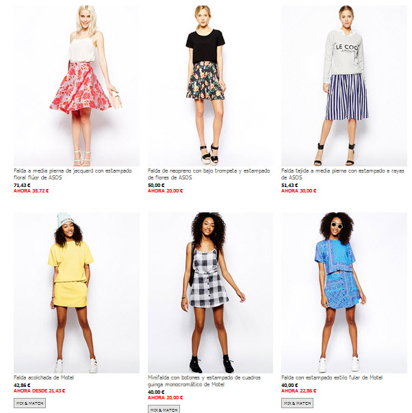 asos outlet faldas
