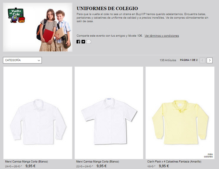 uniformes escolares outlet