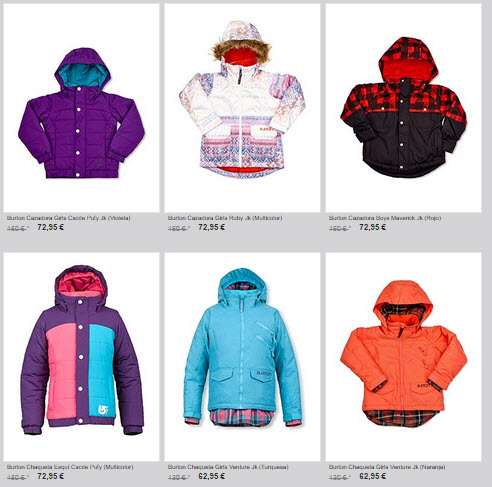 burton ropa snow para niños
