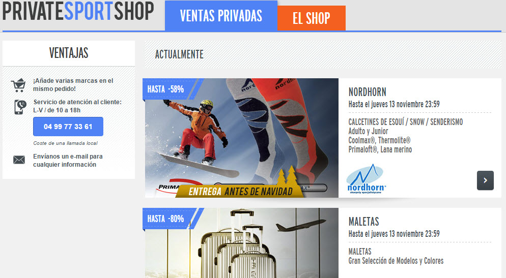 private sport shop España opiniones